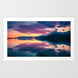 Iceland Sunset Mirrored Reflection Art Print