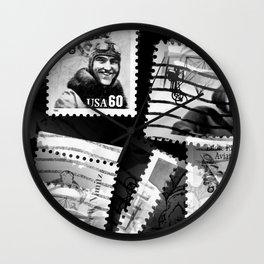 Nostalgic Stamps In Black And White #decor #society6 #homedecor Wall Clock