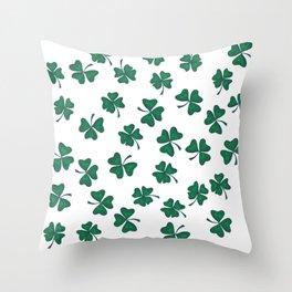 Retro Vintage St Patricks Day Green Shamrock Clover Throw Pillow