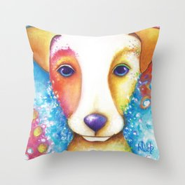 Dog Painting Jack Russell Terrier Vincent Abstract jrt Original Throw Pillow