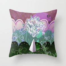 Flower Stone landscape, night Throw Pillow