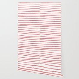 Simply Drawn Stripes Warm Rose Gold on White Wallpaper