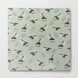 Fantail Bird Pattern Metal Print