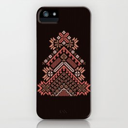 Knitted beautiful coral Christmas tree iPhone Case