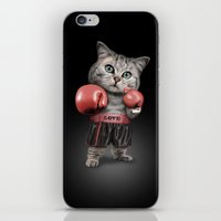 boxing iPhone & iPod Skins featuring BOXING CAT by ADAMLAWLESS