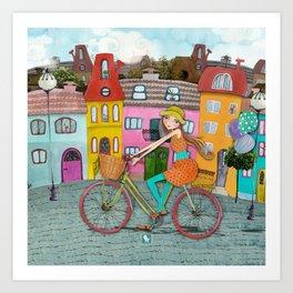 Bicycle and Balloons Art Print