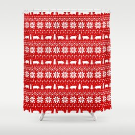 Pig Silhouettes Christmas Sweater Pattern Shower Curtain