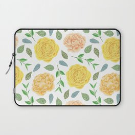 Hand painted yellow coral watercolor modern floral Laptop Sleeve