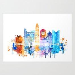 Columbus city watercolor Art Print