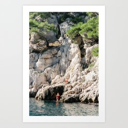 Couple Sunbathing in the Calanques Art Print