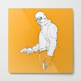Nick orange background handmade drawing Metal Print
