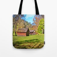 allyson johnson Tote Bags featuring Johnson City Tennessee Cabins by Mary Timman