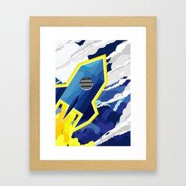flyng rocket in space Framed Art Print