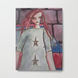 girl with dreads Metal Print