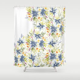 Blue Watercolor Florals Shower Curtain