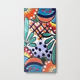 Colorful Talavera, Orange Accent, Mexican Tile Design Metal Print