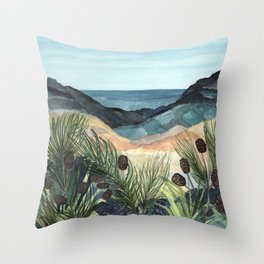Coastal Blue Landscape Throw Pillow