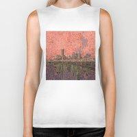 houston Biker Tanks featuring houston city skyline by Bekim ART