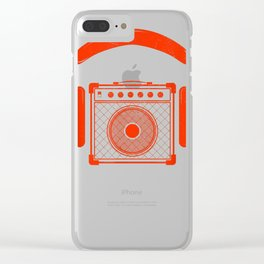 Red Headphones Over Speakerbox Music Lovers Novelty T-Shirt Clear iPhone Case