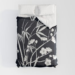 bamboo and plum flower white on black Comforters