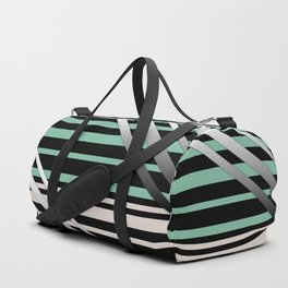 Striped green gray Duffle Bag