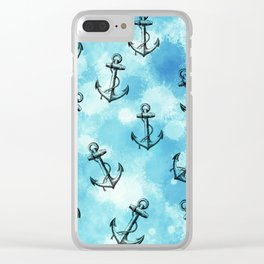 Anchor blue Clear iPhone Case