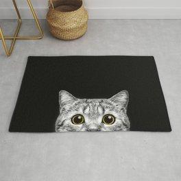 Curious Cat Peeking, Sneaky Kitty, Kitty Photography, Cat, Cats Rug