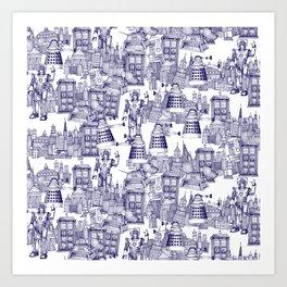 Doctor Who Toile de Jouy | 'Walking Doodle' | Blue Art Print