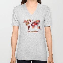 World Map red flowers Unisex V-Neck