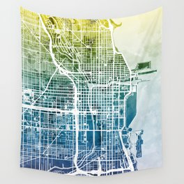 Chicago City Street Map Wall Tapestry