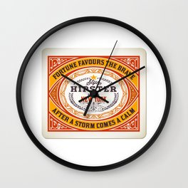 Fortune favours the Brave Wall Clock