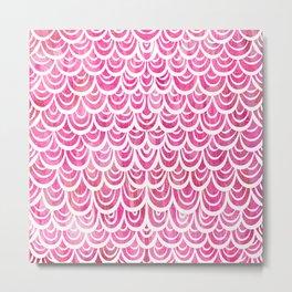 Watercolor Mermaid Pink Tourmaline Metal Print
