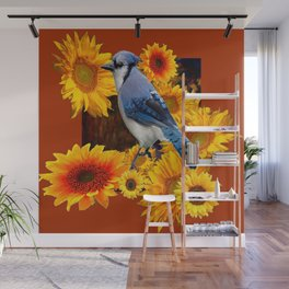 COFFEE BROWN SUNFLOWERS  & BLUE JAY Wall Mural