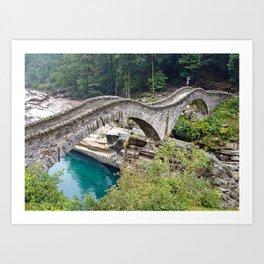 The Romantic Bridge, Ponte dei Salti, Lavertezzo, Switzerland River Verzasca photograph Art Print