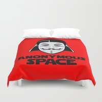 anonymous Duvet Covers featuring Anonymous by Tony Vazquez
