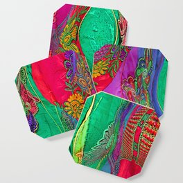 EMBROIDERED ASIAN FABRIC FANTASY COLLAGE Coaster