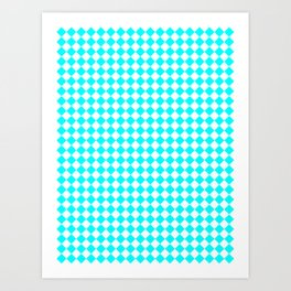 Small Diamonds - White and Aqua Cyan Art Print