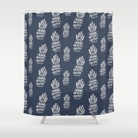 gray pattern Shower Curtains featuring Pineapple Pattern - Navy + Gray by Allyson Johnson