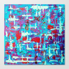 Vibrant Blue White and Red Abstract Art Canvas Print