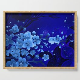 Cherry blossom, blue colors Serving Tray