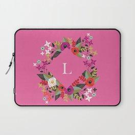 Floral Pink Monogram L Laptop Sleeve