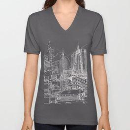 New York B&W (Dark T-shirt Version) Unisex V-Neck