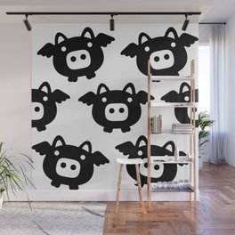 Pigs Will Fly (b&w) Wall Mural