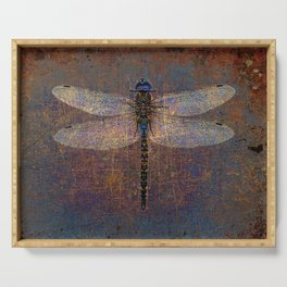 Dragonfly with Inverted Purple and Blue filter on distressed stone background  Serving Tray