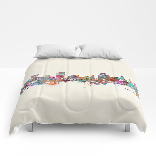 Baltimore Maryland skyline Comforters