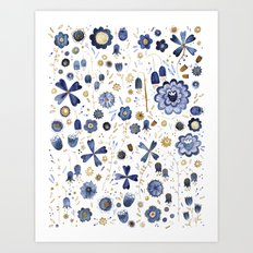 Indigo Flower Mashup Art Print