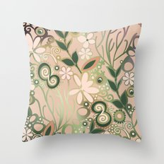 Detailed square of peach and green floral tangle Throw Pillow