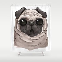 scary Shower Curtains featuring Scary Pug by Alba Ferrari