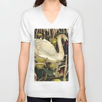 swan queen V-neck T-shirts featuring Swan by Lara Paulussen