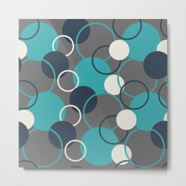 Teal Turquoise Aqua Dark Navy Blue and Alabaster White Solid Color Circles and Rings Pattern - Aquarium SW 6767 Metal Print